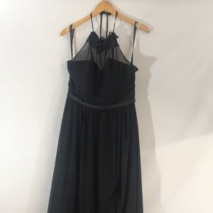 ALFRED ANGELO black strapless halter PROM gown